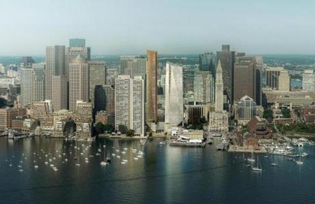 A rendering showing a view of the new Harbor Towers buildings from the harbor. The new buildings are at the center of the rendering, to the right of the existing Harbor Towers buildings.